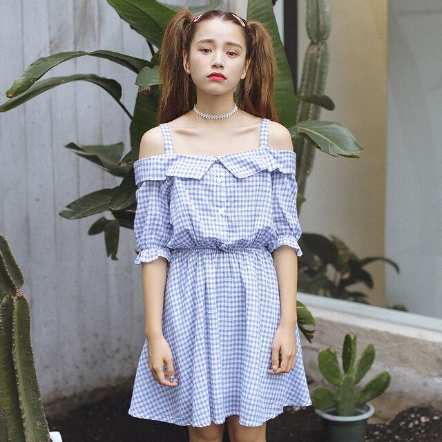 356fd2afbae1 women dress harajuku plus size korean summer dress 2016 new sweet plaid  dresses women flouncing clothing