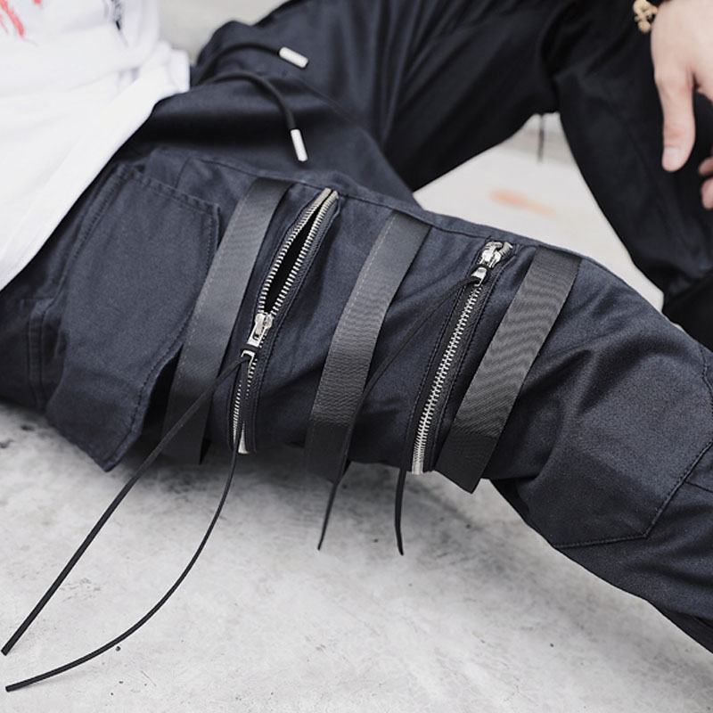 Spring Autumn Fashion Dark Black Men's Zipper Ribbon Casual Pocket Cargo Pants Hairstylist Pants clubwear Street Slacks Trousers