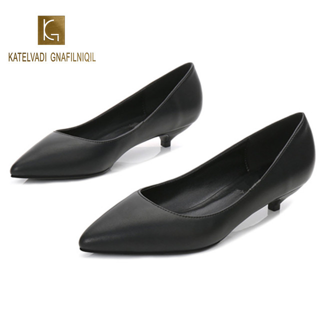 Top Quality Black Split Leather Working Shoes Spring Autumn Pumps Slip On Pointed Toe Pumps Wedding Shoes Women K-222