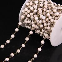 5 м/лот, 6 мм бирюзой круглый шарик Розария цепи, белые бирюзой ссылка латунь Провода завернутый цепи Цепочки и ожерелья Браслет