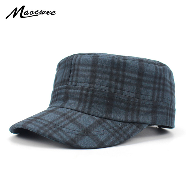 78617bd2c6a Women Army Cap Military Plaid Flat Top Student Casual Newsboy Hat Fashion  Fedora Hats for Woman