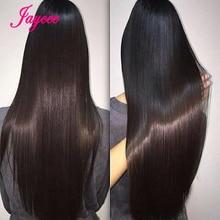 ברזילאי ישר שיער Weave חבילות עם סגירת Brazillian שיער ישר חבילות שיער טבעי הרחבות Tissage Cheveux Humain
