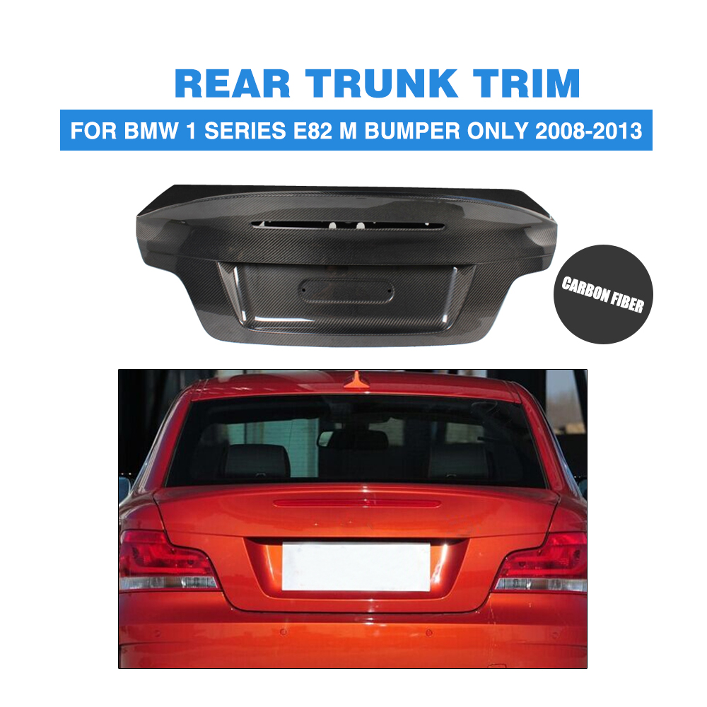 For BMW 1-series E82 1M Bumper ONLY Carbon Fiber Rear Trunk Boot Lid Cargon Cover Cap 2008 - 2013 Car Tuning Parts