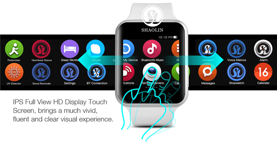 SHAOLIN Bluetooth Smart Watch Heart Rate Monitor Smartwatch Wearable Devices for iPhone IOS and Android Smartphones apple watch-4