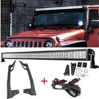 Marloo 52 Inch 300W Led Work Light Bar + Upper Windshield Mounting Bracket + Offroad Led Bar Wiring Set For 07 18 Jeep Wrangler