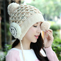 2016 new knitted hat fashion Women Ear Covered Caps Crochet Velvet Hats For Women Winter Cute Casual Cap Women Beanies