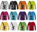 2016 primavera outono de algodão de Manga comprida Camisas de T Para Meninas Girafa Dos Desenhos Animados T-shirt do bebê encabeça meninos camisetas crianças das roupas