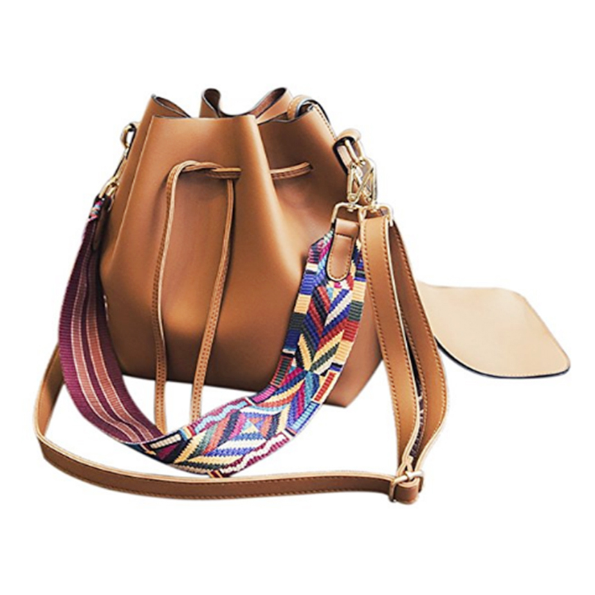 AFBC Women bag with Colorful Strap Bucket Bag Women PU Leather Shoulder Bags Designer Ladies Crossbody messenger Bags 2017 national embroidery bags women leather shoulder bag lady college crossbody bag colorful strap girls messenger bags school