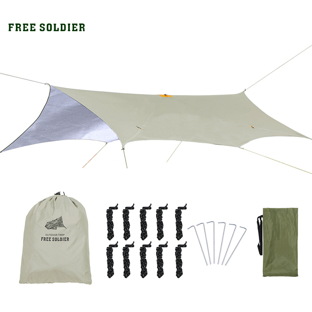FREE SOLDIER outdoor sports camping hiking tactical awning shelter sunshade for travelling rain fly PU waterproof mat