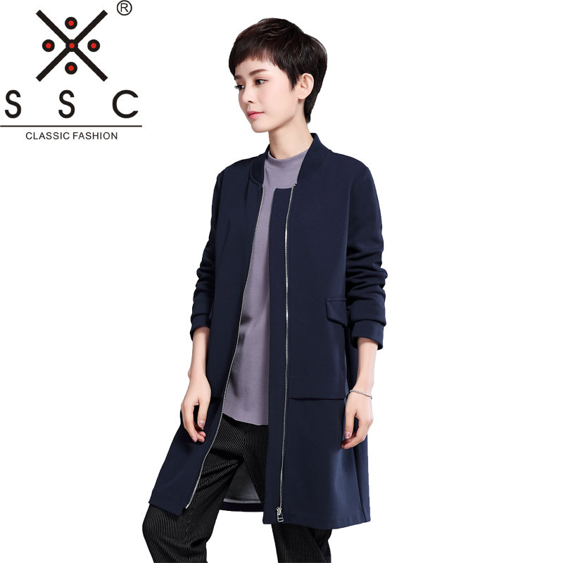 Fashion New Long Womens Windbreaker 2018 Plus Size 4XL Long Sleeves Female Bomber Jackets Solid Color Slim Ribs Coats XH716