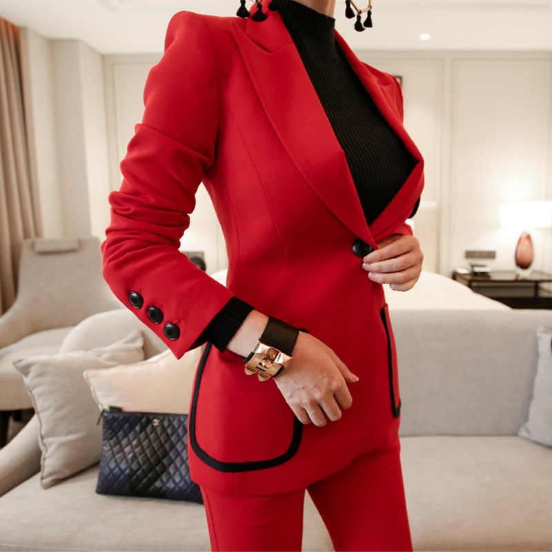 カジュアル女性ビジネスプロスーツスタイリッシュな高品質赤ブレザーパンツスーツの女性 2019 秋と冬の女性の服