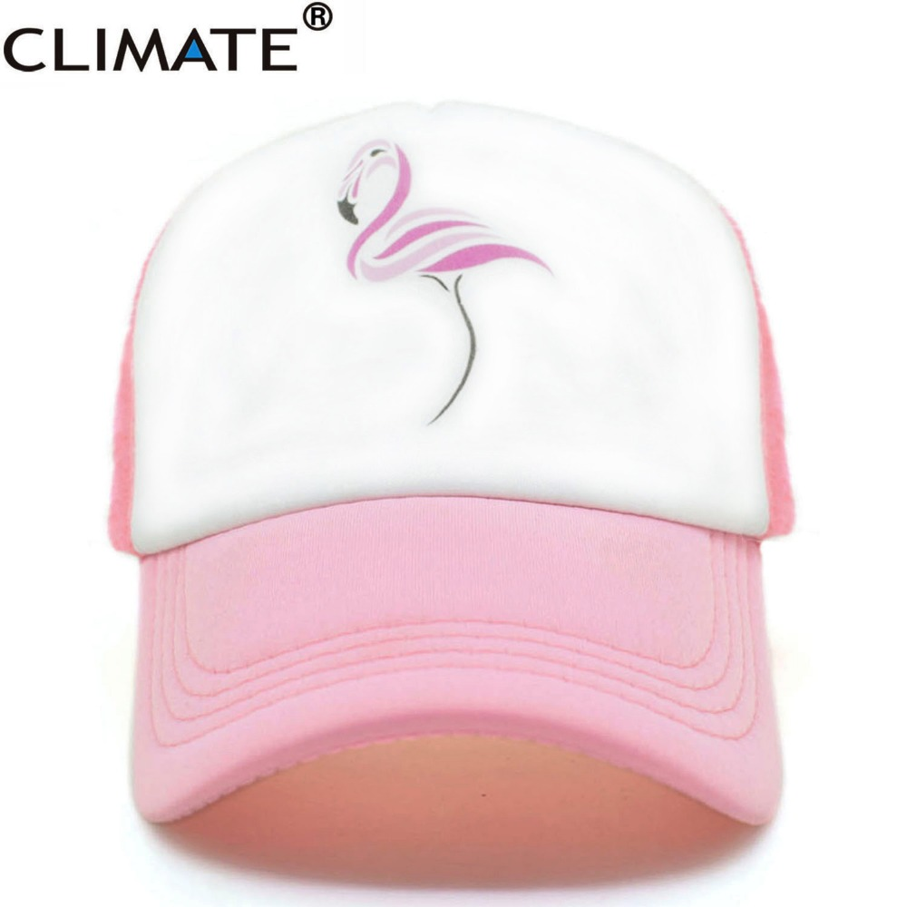 CLIMATE Women Flamingo Pink Mesh Summer Trucker Caps  2017 Youth Young Girls Pink Luck Flamingo Cool Net Mesh Hat Caps Summer climate new summer cool black mesh trucker caps guardians of the galaxy groot fans printing meh youth nice mesh cool summer caps