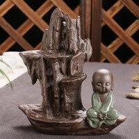 Arredamento creativo La cascata e il piccolo monaco buddha Censer Creativo Riflusso Bruciatore di Incenso Decorazione Della Casa/Ufficio