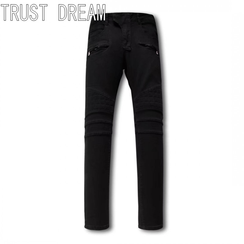 все цены на  TRUST DREAM European Style Men Slim Washed Black Jeans Sewing Square Personal Stretch Man Moto Biker Fashion Street Club Jeans  онлайн