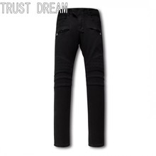 TRUST DREAM European Style Men Slim Washed Black Jeans Sewing Square Personal Stretch Man Moto Biker Fashion Street Club Jeans