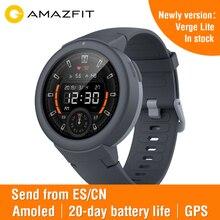 Huami amazfit verge lite 스포츠 스마트 시계 글로벌 버전 보드 음악 통화 응답 메시지 푸시 심박수 모니터