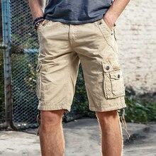 Летние мужские шорты Карго, однотонные хлопковые высококачественные мужские шорты до колен, военные повседневные рабочие шорты бермуды