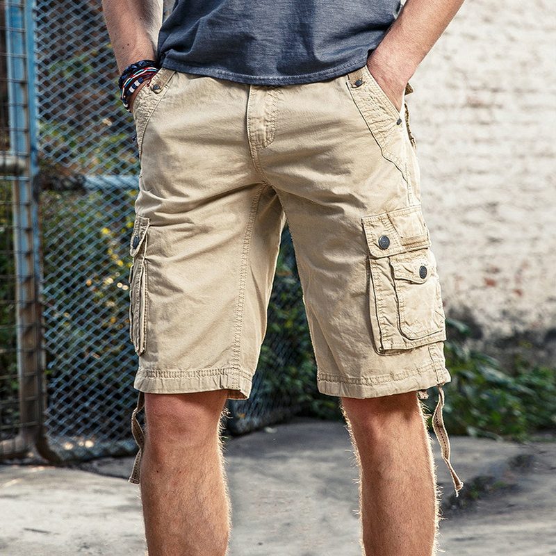 2019 Summer Mens Cargo   Shorts   Solid Cotton High Quality Knee Length Male   Shorts   Bermuda Military Casual Work   Short   Pants Men