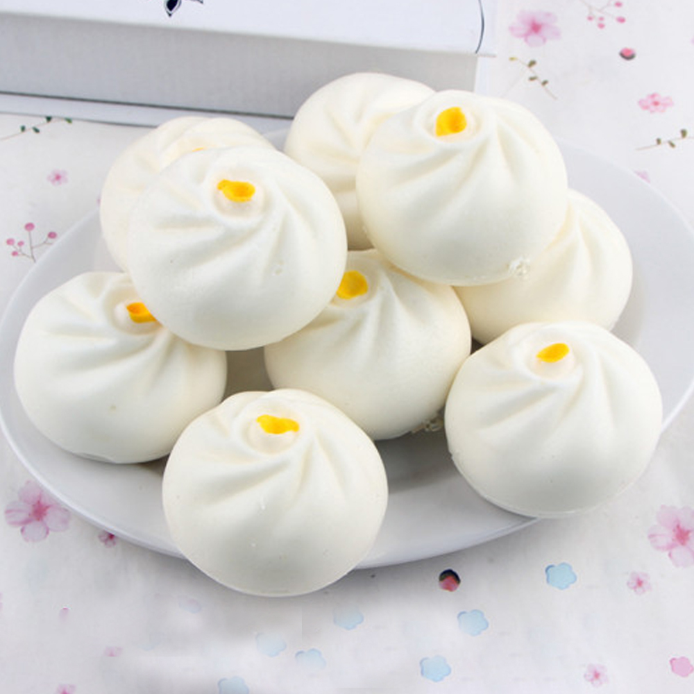 4CM/6CM Cute Simulation Bun White Bread Squishy Toy Soft Slow Rising Steamed Bun Phone Strap Charm Keychain Squeeze Kid Toys