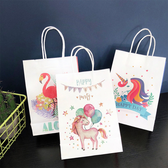 2pcs Unicorn Paper Bag Flamingo Gift Bags Wedding Candy Bag Box Birthday  Unicorn Party Decoration Paper Shopping Bag with Handle c4325062c