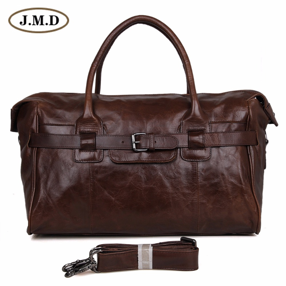 7079Q Fashion Cowboy Classic Vintage Leather Unisex JMD Travel Bag Handbag Cross Body Duffle Bag Huge 17