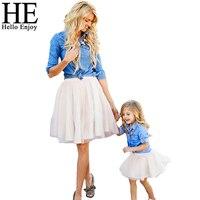 HE Hello Enjoy Mother Daughter Clothes Set Family Look Children Girl Women Long Sleeved Denim Shirt