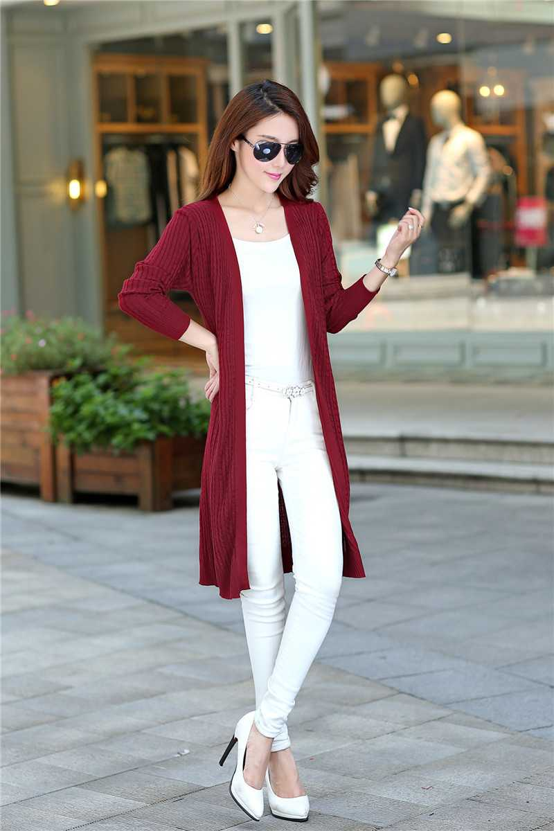 2015 new style long Cardigan sleeve spring and autumn in Europe van twist  with womens sweater knit coat 143759,in Cardigans from Women\u0027s Clothing