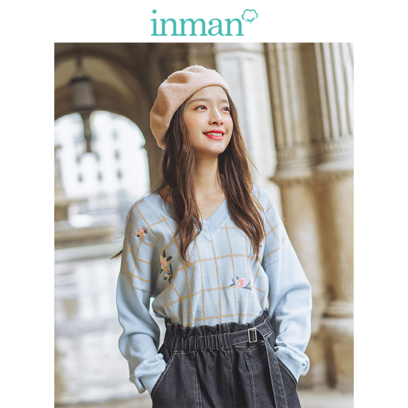INMAN Spring Autumn Ribbing V-neck Drop-shoulder Sleeve Plaid Retro Fashion Embroidery Loose Women Pullover