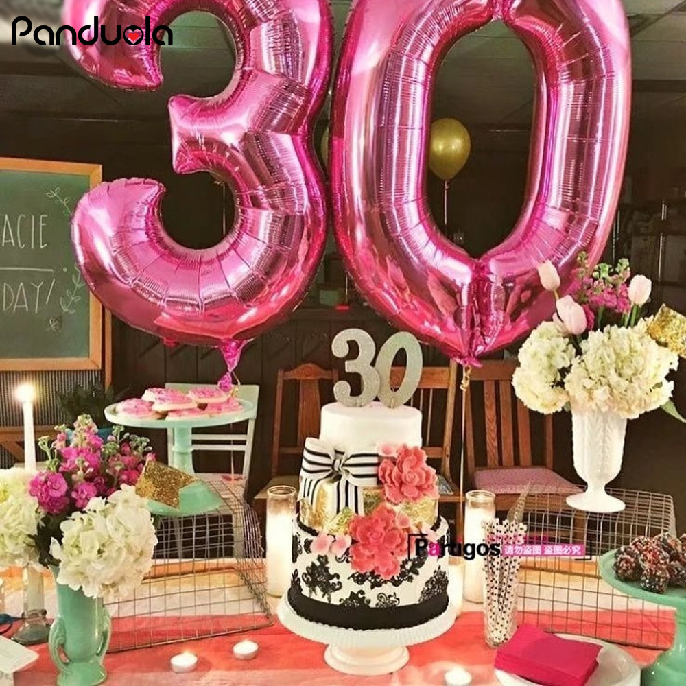 40 Happy Birthday Balloons Ballon Anzahl Decor Figuren Air Folie Ballons Rosa Blau Geburtstag Helium Neue Jahr Dekoration