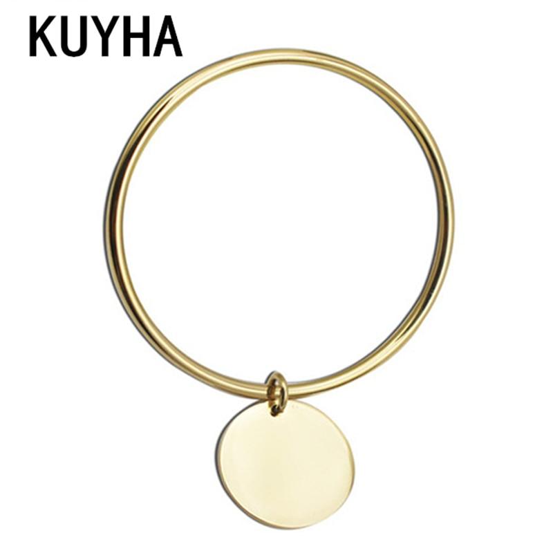 Pulsera de moda Pulsera y brazalete personalizables Logotipo personal / Nombre Colgante con dijes redondos Joyas de estilo dorado de Francia