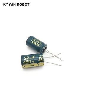 Image 2 - 10 шт., алюминиевый электролитический конденсатор, 22 мкФ, 450 в, 13*20 мм, радиальный электролитический конденсатор frekuensi tinggi