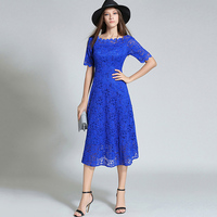 Tanpell Lace Homecoming Dress Blue Short Sleeves Tea Length A Line Gown Women Embroidery Patchwork Graduation