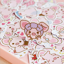 45 pcs/pack Cute Pink pig paper sticker DIY diary album decoration stickers scrapbooking planner label Scrapbook