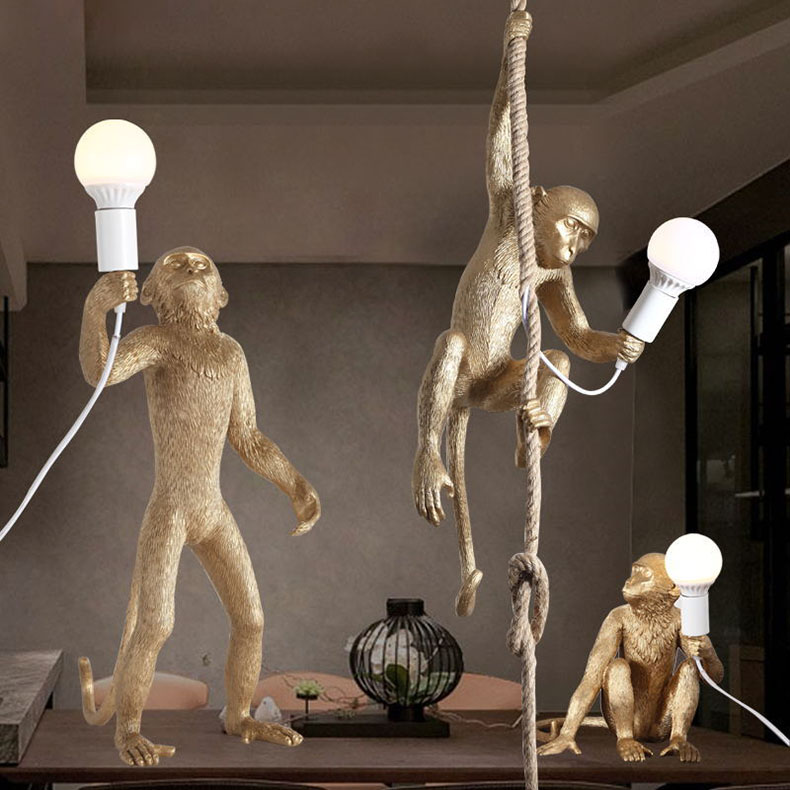 Vintage Loft Monkey Wall Light Retro Resin Lamp Modern Bar Cafe Shop Decor Standing Sitting Ceiling Hanging Lighting Fixture