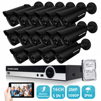 SUNCHAN Security Camera System 16ch CCTV System DVR DIY Kit 16x 1080P Security Camera 2 0mp