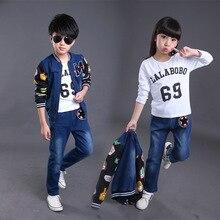 Мода высокого качества 2016 джинсовую куртку и брюки детская одежда для больших мальчиков и девочек