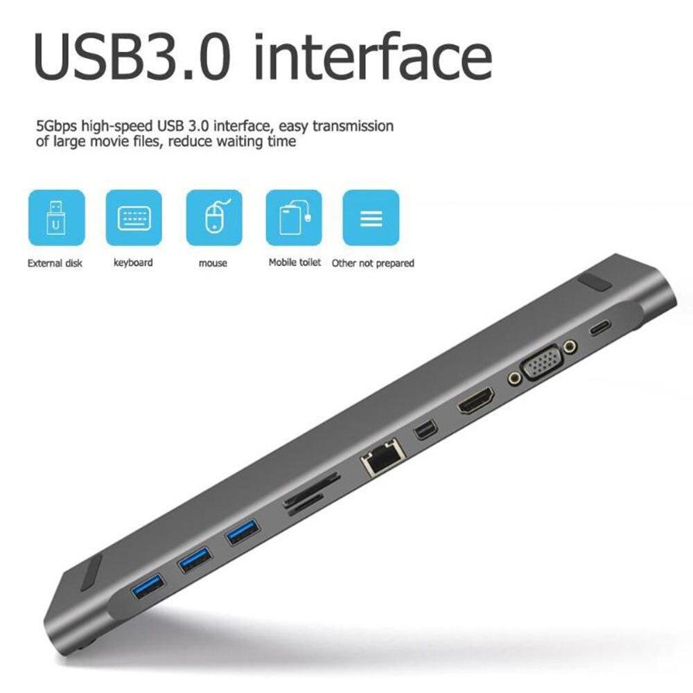 Hub USB 11 en 1 USB-C vers HDMI + Mini DP + VGA + type-c + 3 Port USB 3.0 + RJ45 + prise Audio 3.5mm + moyeu de USB C de carte SD/TF pour Macbook Xiaomi