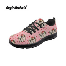 Doginthehole Yorkie Pattern Prints Female Outdoor Sneakers Woman Sports Shoes Walking Comfortable Ultra Light Black Footwear