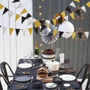 Image 4 - Праздничные золотые, серебряные, Треугольные флаги, подвесные украшения, блестящие, золотые, треугольные, для детских дней рождения, украшения для стен с цветами