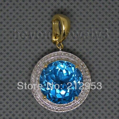 Винтаж КРУГЛЫЙ 14 мм голубой топаз Подвески 18kt желтого золота Природный камень кулон для продажи ER002