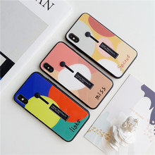 Phone case For iPhone Xs max XR X 8 7 6 6s plus Geometric splice Tempered