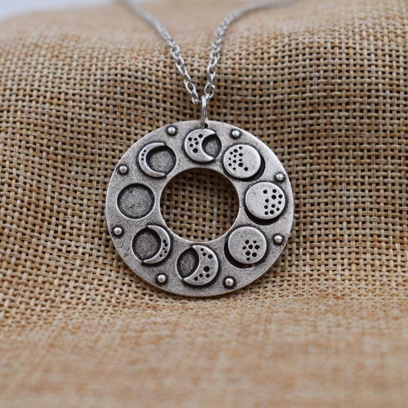 SanLan Vintage Silver Color Moon Life Amulet Pendant Choker Crescent to Full Pancake Fruit Set Talisman