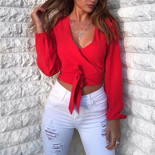 2019 Women Casual Summer Long Sleeve T-Shirt Sexy V Neck Backless Crop Top Beach Fashion Bow Bandage Solid Color T Shirt sexy plunging neck long sleeve solid color self tie crop top for women