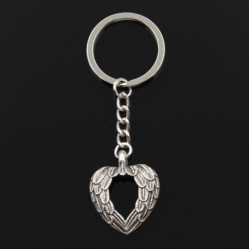 New Fashion Keychain 29*24mm heart angel wings Pendants DIY Men Jewelry Car Key Chain Ring Holder Souvenir For Gift