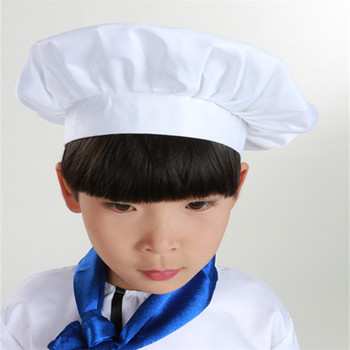 Baby Kid White Chef Hat Kitchen Children Toy Cooking Play Supplies Set Chef Set Elastic Cap For Part