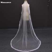 Romantic 2.3 Meters Real Photos Narrow Eyelash Lace Wedding Veil White Ivory Tulle Bridal Veil with Comb Voile Mariage V1110