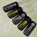 6PCS Beauty Gold Silver 3D Nail Art Sticker Decals For Nail Tips Decoration Tools Hot stamping Design