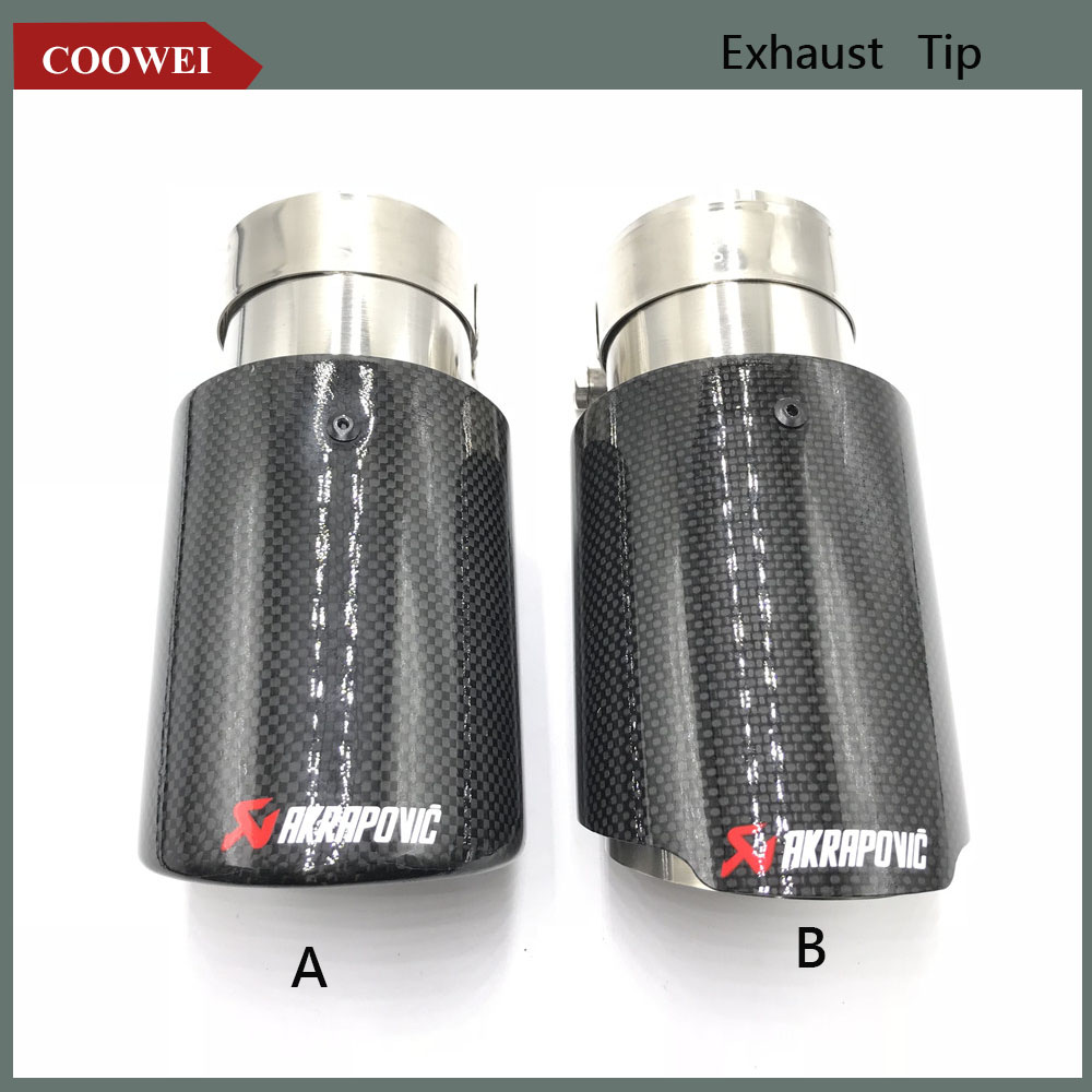 1X AKRAPOVIC Exhaust Tip Muffler Pipe Carbon Fiber 63mm inlet 89mm outlet