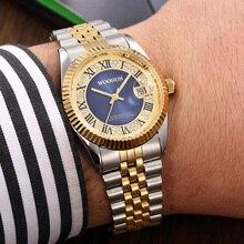 WOONUN Top Logo de la Marca de Lujo de Oro Relojes de Los Hombres de Plata de Oro Banda de acero de Cuarzo Analógico Fecha Rhinestone Relojes de Diamantes Para Los Hombres Reloj