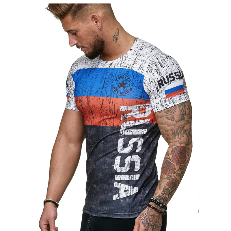 3D printed Russian   T  -  shirt   men summer short-sleeved German men   shirt   patriotic male cotton   T     shirt   men Boutique clothing tee